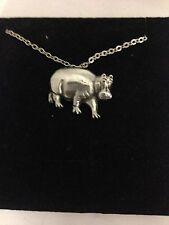"""Hipopótamo R118 Estaño inglés en un collar chapado en plata platino 18"""""""