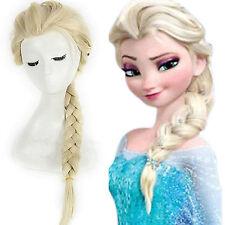 Frozen Princess Elsa Light Gold Lang Haar Zopf Cosplay Kostüm Perücken Neu