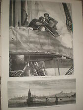 Maiden's tower Istanbul Turkey and British navy Gatling gun 1878 old prints r Y1