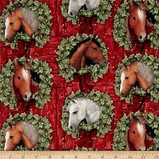 CHRISTMAS HORSE VALANCE MULTI COLORED HORSES IN HORSESHOE RINGS OF HOLLY ON RED