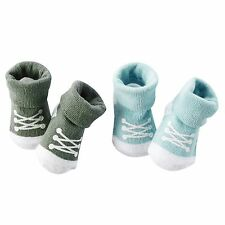 New Carter's 2 Pack Booties Socks size Newborn Sneakers Olive & Light Baby Blue