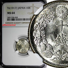 Japan Silver T6 (1917) 10 Sen Ngc Ms64 Mint Luster Y# 36.2