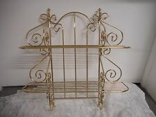 Vintage Gold Tone Deco Scroll Metal Wall Shelf 2 Tier Rack Hanging