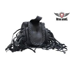 BIKER MOTORCYCLE GENUINE LEATHER Folding Pouch With Fringe & Braid AC1005