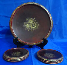 MARUNI LACQUERWARE Occupied Japan 7 Piece Set - Burgundy, Gold Floral - Handmade