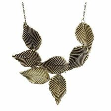 Vintage Style Bronze Leaf Bib Choker Statement Necklace With Free Extender