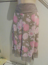 LADIES MILLERS NWOT SIZE 14 LIGHT BROWN PINK PATTERN CHIFFON LINED SKIRT