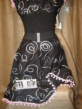 Swirl ribbon skirt pink Mexican bobble trim!1950's,rockabilly,vintage,pin-up! XX