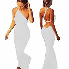 Sexy Women Deep V Backless One Shoulder Strap Evening Party Maxi Dress Ball Gown