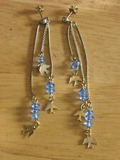 "Set of pierced earrings 3"" dangles with blue stones and birds jewelry"