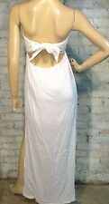 Nwt GUESS size M STRAPLESS DRESS COVERUP CASUAL EMPIRE TIE BACK WHITE COTTON