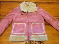 WILSON'S LEATHER MAXIMA PINK GENUINE SUEDE & SHEARLING  LADIES JACKET