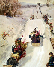 Vintage art print Tobogganing 1886 Victorian wall decor snow winter ice