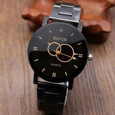Fashion Design Black Stainless Steel Band Round Dial Quartz Men Wrist Watch NEW