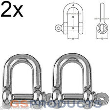 2x 16mm D Shackle Stainless Steel (Dee Shackle, Marine Shackle, fasteners)
