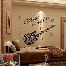 Music Guitar Pattern Vinyl Decals Room Home Wall Sticker Decor Removable Mural
