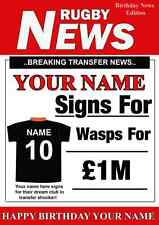 A5 Personalised Wasps FAN Greeting Birthday Card Rugby PID170