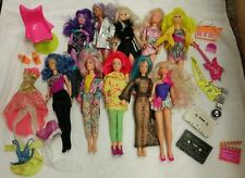 Vintage 1985 Jem and the Holograms 10 Doll Lot Hasbro Misfits Guitar Watch Tapes