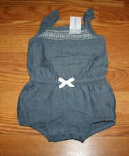 NWT Girls CARTERS Blue Denim White Summer Romper Size 24 Months