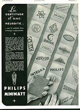 """Publicité Ancienne """" Lampe pour Radio Philips MINIWATT 1933 ( P. 36 )"""