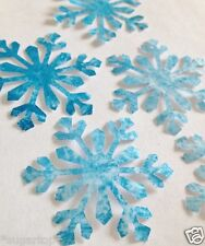Frozen Ice Blue SNOW FLAKES 10 x Large Size 5cm Edible Cake Toppers * READY CUT