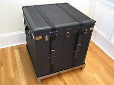 New Ralph Lauren Home City Modern Black Twill Leather Luxury Trunk Furniture