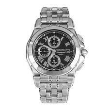 Seiko Chronograph SNA525 Black Dial Stainless Steel Alarm Mens Watch