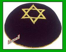 Jewish STAR OF DAVID BLACK KIPPAH yarmulka/yarmulke