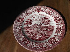 VINTAGE RED TRANSFER SIDE PLATE RIPPLE RIM BRITISH ANCHOR OLDE COUNTRY CASTLES