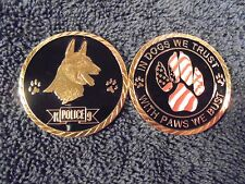 Military & Police Special Unit K9 24kt Gold Dog American-Flag Paw Challenge Coin