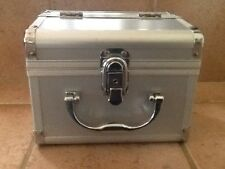 Train Case Metallic for Makeup or Travel / Silver Metal Jewelry Box GUC