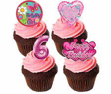 6th Birthday Girl Edible Cupcake Toppers,  Pink Stand-up Fairy Cake Decorations