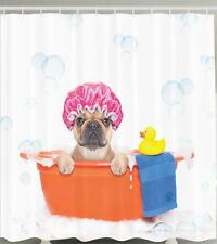 DOG WEARING SHOWER CAP RUBBER DUCK BUBBLE BATH TUB PET THEME Shower Curtain