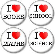 "Set of 4 x I Love / Heart BOOKS SCHOOL MATHS SCIENCE 1"" Pin Button Badges Geek"