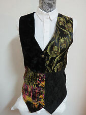 Sz 1X Black Multi-Color Velvet/Lace PLUS WOMENS Poly #312 Suit Vest Waistcoat