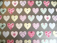 2 Sheets Mothers Day Wrapping Paper & 2 Gift Tags - Engagement - Pastel Hearts
