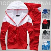 New Tracksuit Mens Running Sport Wear Coats+Pants Suit Hooded Athletic Apparels