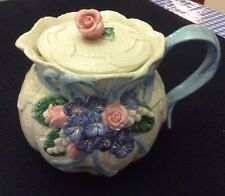 Fitz & Floyd Classics Victorian Lace Teapot 1993 Pink Roses Blue Flowers