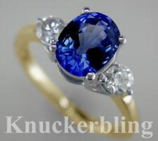 3.55ct Oval Blue Sapphire Diamond Ring F VS 18ct Yellow Gold Engagement 3-Stone