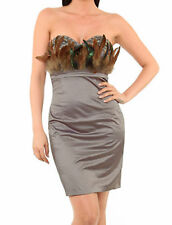 New-Embellished Mink Satin Strapless Mini Party Dress-Feathers Crystal Gems-16