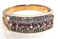 9CT YELLOW GOLD   PINK SAPPHIRE & DIAMOND ETERNITY RING  Size O