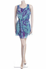 New Carbon Size 12 Bold Green Purple Floral Print Pretty Floaty Summer Dress