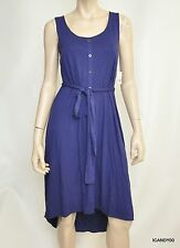 Nwt $198 Tahari High-Low Belted Stretch Jersey Sleeveless Dress Top Tunic Blue S