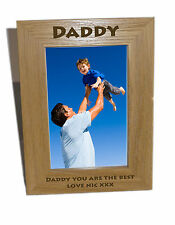 Daddy Wooden Photo Frame 4x6 - Personalise this frame - Free Engrav