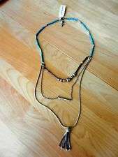 `Lucky Brand Lucky Layer Turquoise and Leather Bracelet Necklace MSRP $49