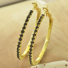 Fashion vintage 14K Gold Filled Black topaz Womens Big circle Hoop Earrings