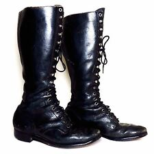 Women's 1940's Vintage Tall Black Leather Lace-Up Boots US 9 - HEAVIER WEAR