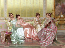 Oil painting Vittorio Reggianini - La Soiree beauties young girls party in room