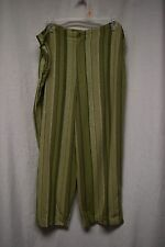 Womens Capris Sz XL 16 18 By White Stag Green Striped Button Zipper 1/2 Elastic