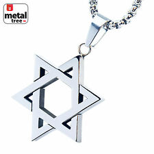 "Men's Stainless Steel Six Point Star Pendant 24"" 3mm Box Necklace SCP 132 S"